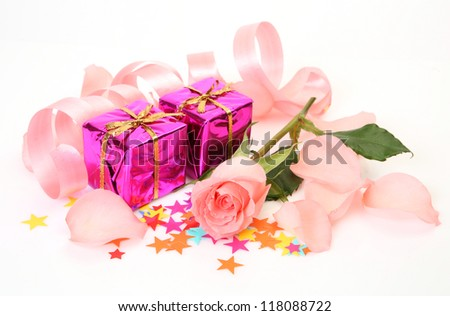 Box with a gift and rose