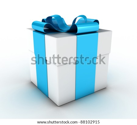 Box with a gift, fastened by a blue ribbon