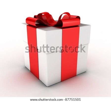 Box with a gift, fastened by a red ribbon