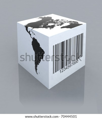 box with america map and barcode 3d illustration - stock photo