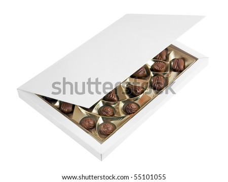 Box with chocolates isolated on a white background
