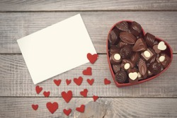 Box with chocolates on Valentine's day