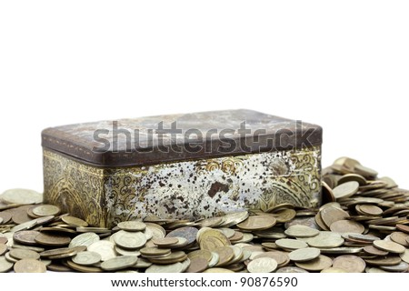 Box with coins isolated on white with clipping path.