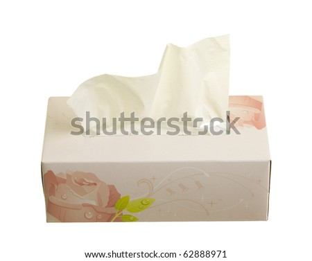 Box with facial tissues; isolated on white background