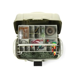 Box with fishing tackle on white background, top view