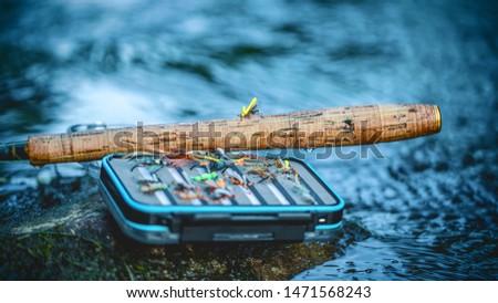 Box with flies. Fly fishing and tenkara.