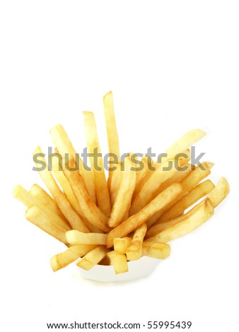 Box with french fries viewed from above