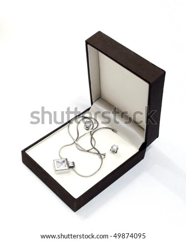 box with jewelry against the white background
