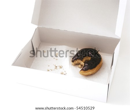 Box with one partially eaten donut