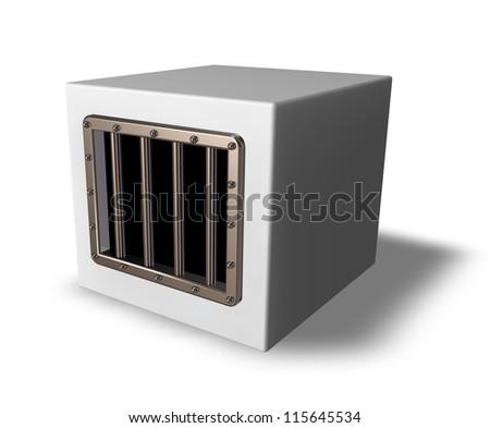 box with prison window - 3d illustration
