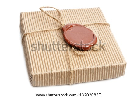 box with sealing wax on white
