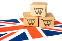 Box with shopping cart logo and United Kingdom flag, Import Export Shopping online or eCommerce finance delivery service store product shipping, trade, supplier concept.