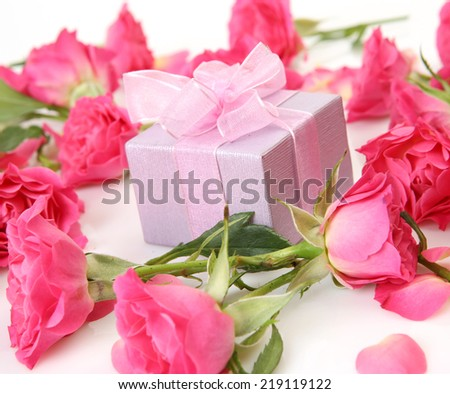 box with surprise and flowers