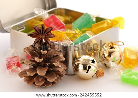 Box with sweet honey candy.