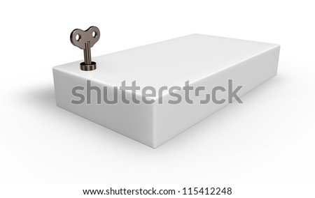 box with wind-up key - 3d illustration