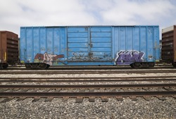 Boxcar with graffiti