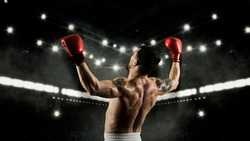 Boxer celebrating win on dark background. Sports banner. Horizontal copy space background