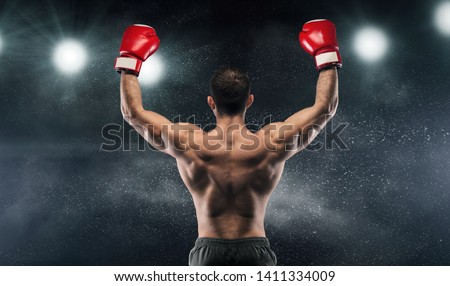 Photo of  Boxer champion enjoying his victory on lights and standing back to the camera, black studio background