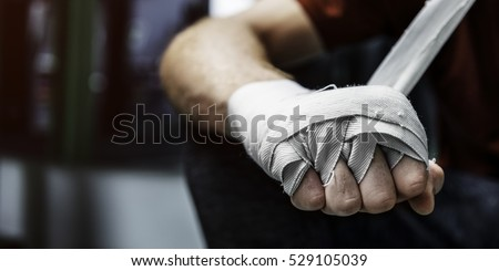 Stock Photo Boxer Hand Wraps Protection Knuckle Concept