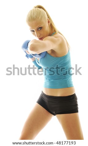 boxer woman isolated on white