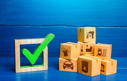 Boxes and green check mark. Free Trade Area and Economic Preferences Agreement. Verification of imported goods products. Quality control. Trade agreements. Available in stock. Import and Sale Permits.