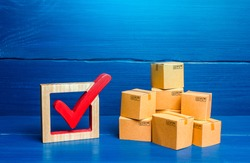 Boxes and red check mark. Verification and standardization of goods and imported products. Quality control. Available in stock. Import and Sale Permits. Trade agreements, turnover transfer convention