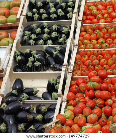 boxes full of fresh fruits and vegetables and seasonal fruit and vegetable market at retail and wholesale 1