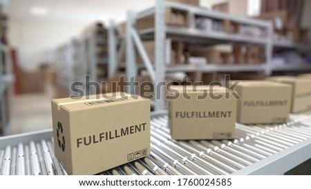Boxes on conveyor. Looping 3d 3d rendering Stock photo ©