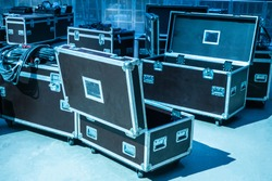 boxes on wheels. Boxes for transportation of equipment. Show Business. Equipment cases. Stage equipment. Storage. Transportation equipment.