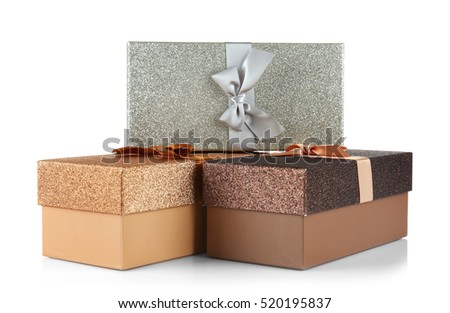 Boxes with Christmas presents on white background #520195837