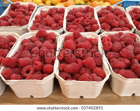 Boxes with fresh juicy raspberries for sale