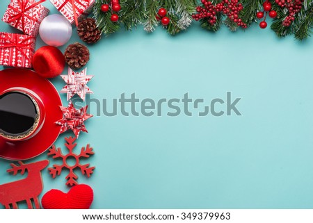 Boxes with gifts on a blue cyan background. Happy new year. Space for text. Colorful Concept. New Year background. Christmas. Xmas. Noel.