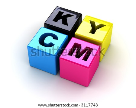 boxes with letters CMYK (can be used as illustration on a polygraphic theme)