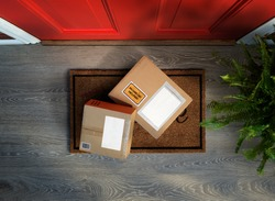 Boxes with online shopping delivered outside the door, could be stolen. Add your own copy to the labels
