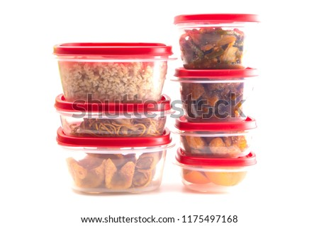 Boxes with Red Lids filled with Leftover Food ストックフォト ©