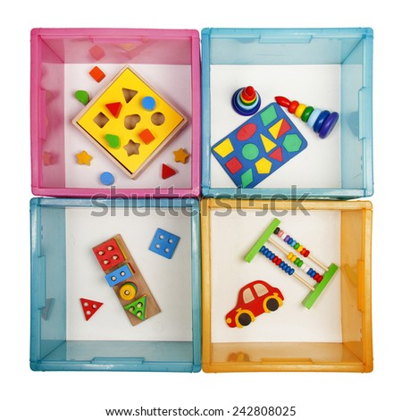 boxes with toys on the white