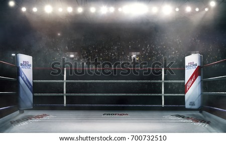 boxing arena with blurred...