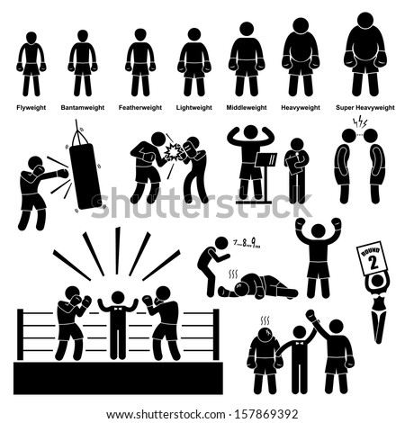 Boxing Boxer Stick Figure Pictogram Icon