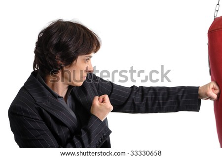 Boxing business woman on white background