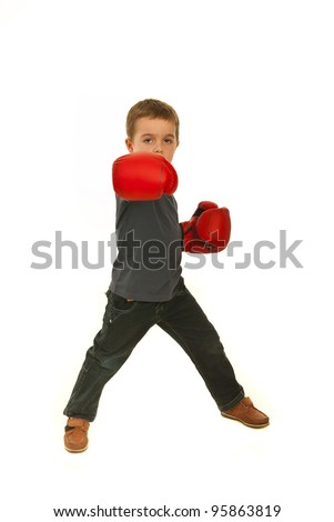 Boxing child boy isolated on white background