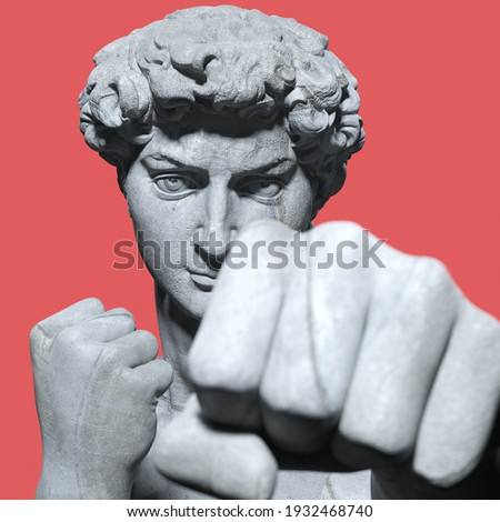 Boxing fists and angry face man, David sculpture agressive looking camera isolated 3d rendering. Stock photo ©