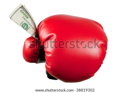 Boxing glove holding dollar bills isolated on white background
