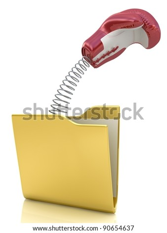 Boxing Glove surprise in pc folder on White Background