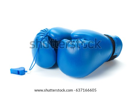 Boxing gloves close up on a white background Zdjęcia stock ©