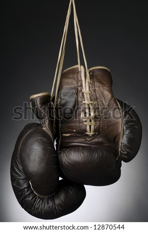 boxing gloves hanging by the string