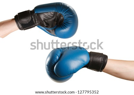 boxing gloves on hands on white background
