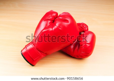 Boxing gloves on the table
