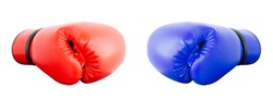 Boxing gloves Red and Blue hitting together isolated on white background.