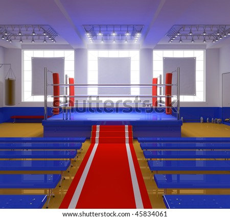 Boxing gym with blue ring and red corners-3D illustration
