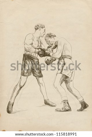 "Boxing match - two warriors. Full-sized (original) hand drawing (useful for converting ""live trace"" for the vector image - and others). Technique: digital tablet."